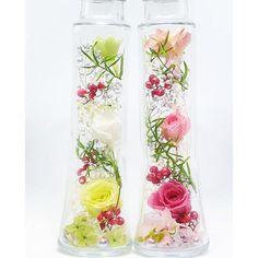 ローズハーバリウム《グリーン&ピンク》2本セット 販売時にオイル入れます。 ハンドメイドのフラワー/ガーデン(プリザーブドフラワー)の商品写真