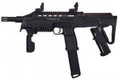 Tippmann TCR Magfed Tactical CQB Paintball Gun - Black Dual Feed capable Flip top sights Collapsible Stock with additional mag carrier cartridges or hap Compatible with remote line Adapter Hideaway remote Adapter Paintball Field, Paintball Gear, Airsoft Field, Revolver, Military Gear, Airsoft Guns, Weapons Guns, Self Defense, Firearms
