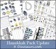 Free Hanukkah Pack Update 20 pages added to the original 95 pages - 3Dinosaurs.com