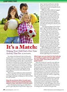 Our kids magazine march 2015 It's a Match: Helping Your Child Find a Free Time Activity That Fits