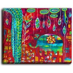 DiaNocheDesigns 'Elephants Eden' by Michele Fauss Painting Print on Wrapped Canvas Size: