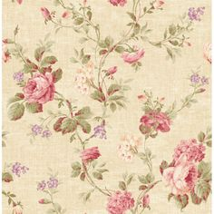 Rose Trail from The French Linen Collection by Pelican Prints Home Wallpaper, Fabric Wallpaper, Wallpaper Wallpapers, Miss Marple, Botanical Wallpaper, Dusty Rose, Dollhouse Miniatures, Printing On Fabric, Decoupage