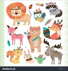 Set Of Cute Tribal Animals In Cartoon Style Stock Vector Illustration 453895723 : Shutterstock