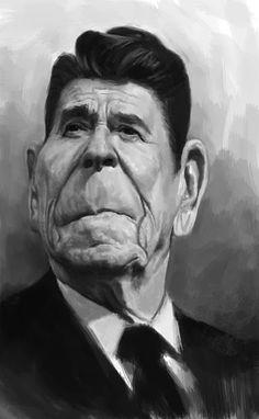 El actor Ronald Reagan que también fuera presidente de los EEUU, caricaturizado por el artista Paul...