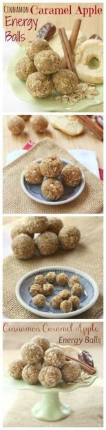 Healthy Snacks for Kids: Cinnamon Caramel Apple Energy Balls Recipe could be made into bars too great for quick healthy treat