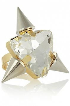 Gold-plated Crystal Ring by Noir Jewelry