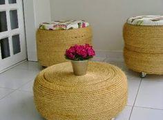 Como fazer puffs ou mesas de centro a partir de pneus usados revestidos com cordas.