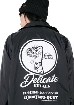 Petals and Peacocks Delicate Coach Jacket ur such a delicate f*ckin' flower...this dope af jacket has a relaxed fit, pockets, chest and back graphic, drawstring hem and snap closure.