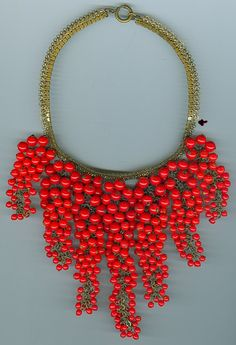 Miriam Haskell vintage bib necklace -- 7 hanging strands of chain with glass beads wired on