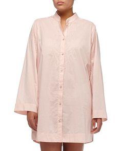 I0G43 Donna Karan Casual Luxe Pintuck Sleepshirt, Ballet Pink