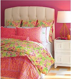 Lilly Pulitzer honeysuckle bedding.