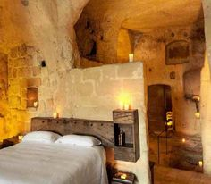 The Sextantio albergo diffuso Le Grotte della Civit (Italy) - The Sextantio albergo diffuso Le Grotte della Civit has 18 cave rooms which have been renovated to reflect their authentic character and natural setting. All caves have been hand-carved. - Want to discover more hidden gems in Europe? All of them can be found on www.broscene.com