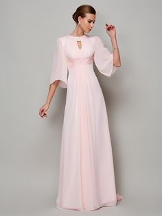 Shop affordable a-line high neck sweep train chiffon mother of the bride dress with sleeves online. Custom-made any plus size or color. Pro since 2009.