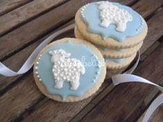 Beautiful & delicate goodies for special tea parties! Baby Boy Cookies, Farm Cookies, Baptism Cookies, Baby Shower Cookies, Iced Cookies, Easter Cookies, Easter Treats, Sugar Cookies, Sheep Cake