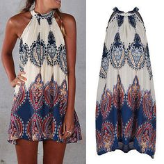 Summer Beach Dresses Holiday Boho Halterneck Chiffon SunDress