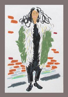 London Fall 2012 Fashion Week snap sketch by Damien Florebert Cuypers: Sara Maino, Vogue Italia Ny Fashion Week, London Fashion, Frieze Art Fair, Illustration Sketches, Illustrations, Fallen London, T Magazine, Drawing People, Fashion Sketches