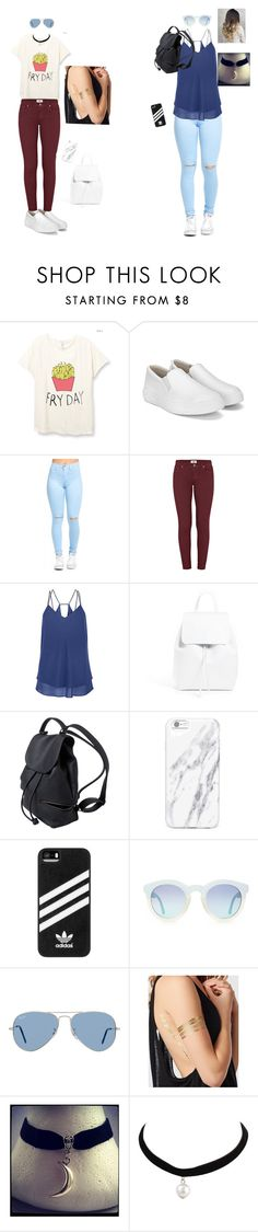 """""""Bordo or blue?"""" by tijana-cuturilo ❤ liked on Polyvore featuring Paige Denim, Mansur Gavriel, adidas, Ray-Ban and La Senza"""
