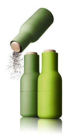 Bottle Grinder, Small, Green, Set of 2 modern-salt-and-pepper-shakers-and-mills Design Shop, Menu Design, Salt And Pepper Grinders, Solid Shampoo, Message In A Bottle, Alessi, Bottle Design, Cooking Tools, Sauce Bottle