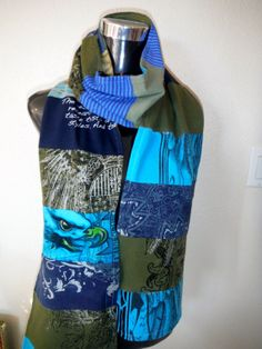 Graphic Art Scarf Turquoise Blue Olive Green Stripes Eagle OOAK