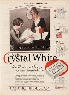 1919 Peet Bros. Kansas City-San Francisco-Crystal White Soap-Kitchen-Laundry Ad