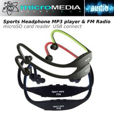 Sports Headphone MP3 player & FM Radio microSD/TF card reader WMA USB cable #MicroMediaSoundTECH