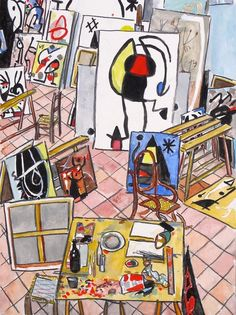 """Miró's Studio, Mallorca,"" 2015, watercolor, gouache and pierre noire, 12.5"" x 9"" (32 x 23 cm)"