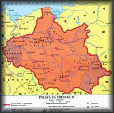 Mapa Polski za panowania Mieszka II Lamberta