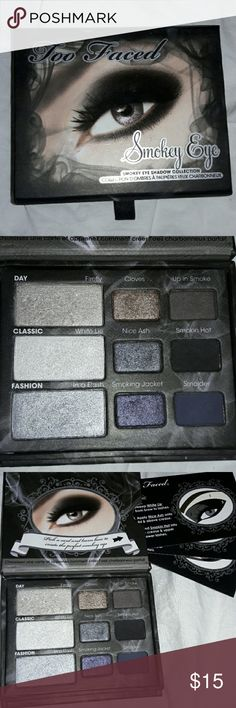 Too Faced Smokey eye pallet *used* Smokey pallet, all shades have been used & sanitized. Smokin hot- the black, has been used more than the other shades. Too Faced Makeup Eyeshadow