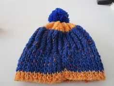 Blue and Yellow Hand Knitted Child's Hat