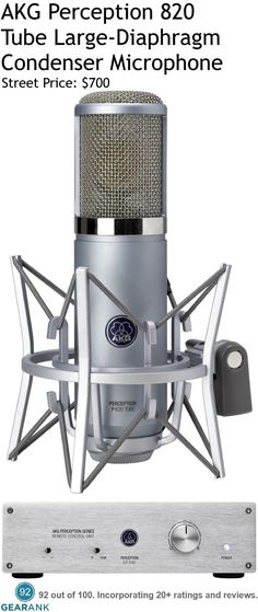 AKG Perception 820 Tube Large-Diaphragm Condenser Microphone.  Features: Frequency Response: 20 to 20000 Hz - ECC83 dual-triode tube circuit - Dual one-inch diaphragm microphone - Remote control unit - Switchable bass-cut filter - A 20dB attenuation pad.  For a detailed Guide to Studio Mics for Vocals see https://www.gearank.com/guides/vocal-studio-mics