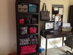 What a great way to organize an office!  You can find those totes here at www.mythirtyone.com/ellenoncu