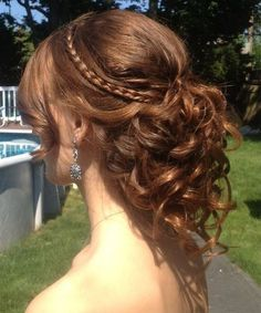 Fantastic Little Rope Braided Crown on Curly Updo Wedding Hairstyles to Have An Attractive Look