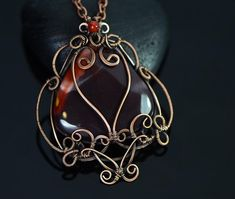 Wire wrapped mookaite necklace jasper pendant wire by OrioleStudio