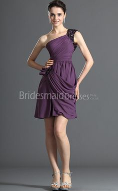 Regency Stretch Satin A-line One Shoulder Short With Draping Purple Bridesmaid Dresses