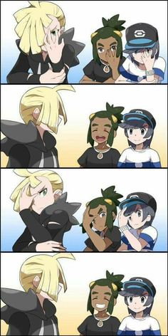 Sun & Hau: We're not doing anything, Gladion. Gladion: Ok (turns around) Sun & Hau: (continues to mimic Gladion)