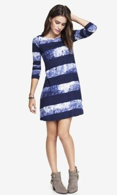 LONG SLEEVE STRIPED BURNOUT TRAPEZE DRESS from EXPRESS