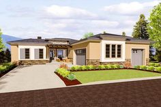 4 Bed Modern Prairie with Unique 3-Car Garage - 64447SC   Architectural Designs - House Plans