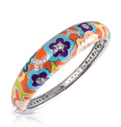Cherry Blossom Orange Bangle by Belle Étoile.  Bold Colors.  Silver Jewelry.  Fashion Jewelry.