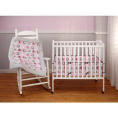 Little Bedding by NoJo Elephant Time Portable Crib Bumper, Pink