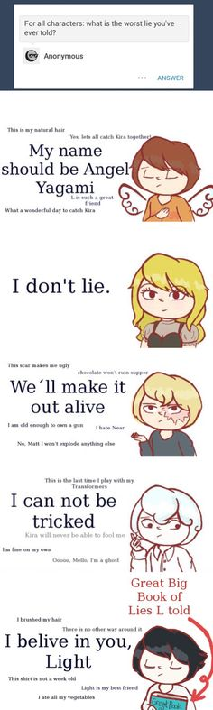 Tags: Death Note, lies, literally everyone lies in this show, well this couldn\'t be more accurate