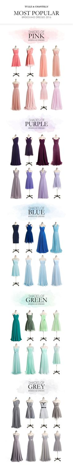 """Tulle & Chantilly hottest bridesmaid dresses 2016 in shades of pink, purple, blue, green and grey---USE CODE """"pin15"""" TO GET 15% OFF"""