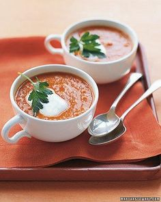 See the Spiced Chickpea and Tomato Soup in our Quick Soup Recipes gallery Quick Soup Recipes, Tomato Soup Recipes, Cooking Recipes, Cooking Tips, Korma, Biryani, Chickpea Soup, Pureed Soup, Cooking Photos