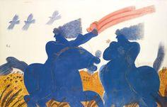 thunderstruck9: Alecos Fassianos (Greek, b. 1935), Two horsemen. Oil on canvas laid on canvas, 203 x 318 cm.