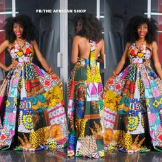 African print dress made out of 15 different fabrics.