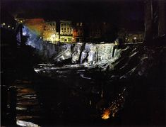 Cave to Canvas, Excavation at Night - George Bellows, 1908