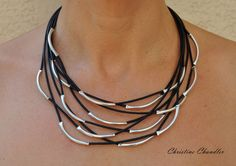 Leather and Sterling Silver Necklace by Christine Chandler