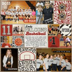 Digital Scrapbook Layout by Juli Fish.  Girls basketball, middle school, sports…