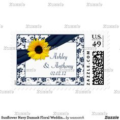 Sunflower Navy Damask Floral Wedding Postage The text on these sunflower navy or marine blue and white damask floral wedding postage stamps is fully customizable. To change it use the personalize option. For more extensive changes to the stamps including changes to the font, font color, font size, or text placement, use the customize option. These are elegant and sophisticated wedding stamps for a wedding in the summer or fall or a wedding with a sunflower theme. Change the text and use them…