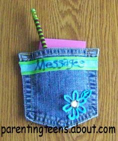 Messages pouch from old jeans; make at end-of-year sleepover for use in GR6 lockers in the fall