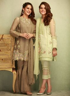 Phatyma Khan Luxury Winter Pret Dresses are in light color shades to make you look more attractive during these winter events or wedding parties. Pakistani Fashion Casual, Pakistani Dresses Casual, Pakistani Wedding Outfits, Pakistani Dress Design, Indian Dresses, Indian Outfits, Indian Fashion, Pakistani Clothing, Women's Fashion